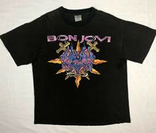 Vtg 90s Brockum Bon Jovi Keep The Faith Band Tour Mens XL Black Newest 2019 Fashion Stranger Things T Shirt Men