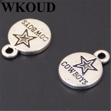 WKOUD 20pcs Antique Sliver cowboys round tag Charm Pendant DIY Handmade Jewelry Findings A24