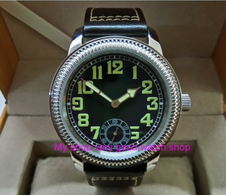 44mm PARNIS Asian ST3621/6498 Mechanical Hand Wind movement Mechanical watches Luminous black dial men's watches YB01 аккумулятор yoobao yb 6014 10400mah green