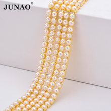 JUNAO ss6 12 16 Pearl Chain Trim Rhinestones Banding Sewing Gold Crystal Beads Chains Acrylic Pearls Beads Applique for Crafts(China)