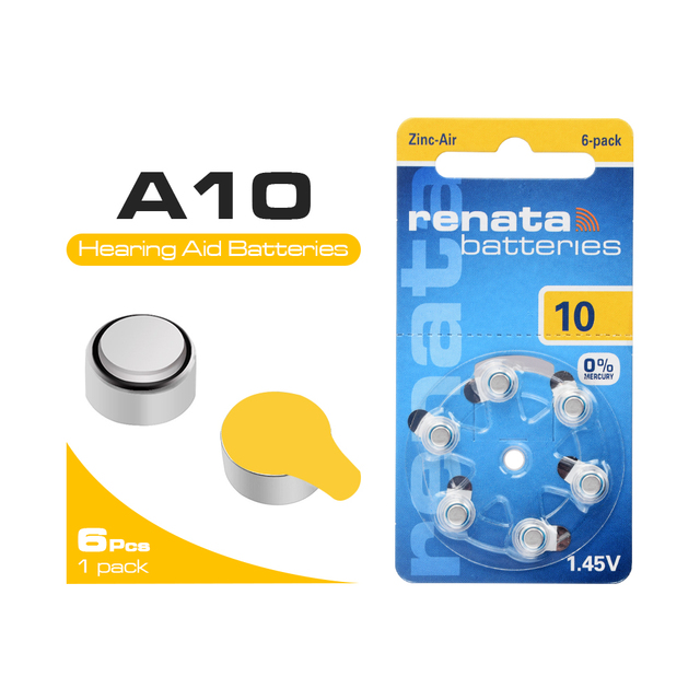 6Pcs 1.45v A10 ZA10 PR70 10AE P10 보청기 용 배터리 10 p10 PR70 아연 에어 버튼 셀 보청기 용 배터리