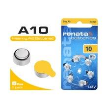 Bateria da pilha do botão de ar do zinco de 10 p10 p10 para aparelhos auditivos bateria de 6 pces 1.45v a10 za10 pr70 10ae p10 para baterias do aparelho auditivo