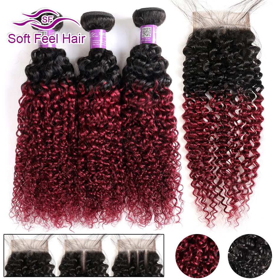 Soft Feel Hair 1B Burgundy Ombre Bundles With Closure 99J Brazilian Kinky Curly Hair 3 Bundles
