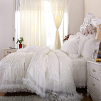 2018 Free shipping wedding bedding sets queen milk white satin jacquard lace bed skirts lace edge princess bedspread romantic
