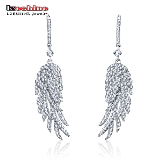 LZESHINE 2017 New Fashion Women Trendy  Earrings Jewelry Silver Plated Feather  Long Earrings for Wedding  CER0521-B