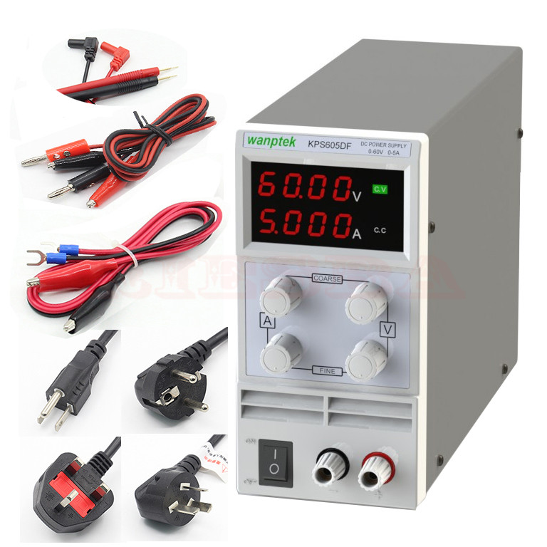 wanptek KPS605DF Adjustable High precision LED display switch DC Power Supply protection function 60V 5A 0.01V 0.001A 30v 5a dc regulated power high precision adjustable supply switch power supply maintenance protection function kps305df