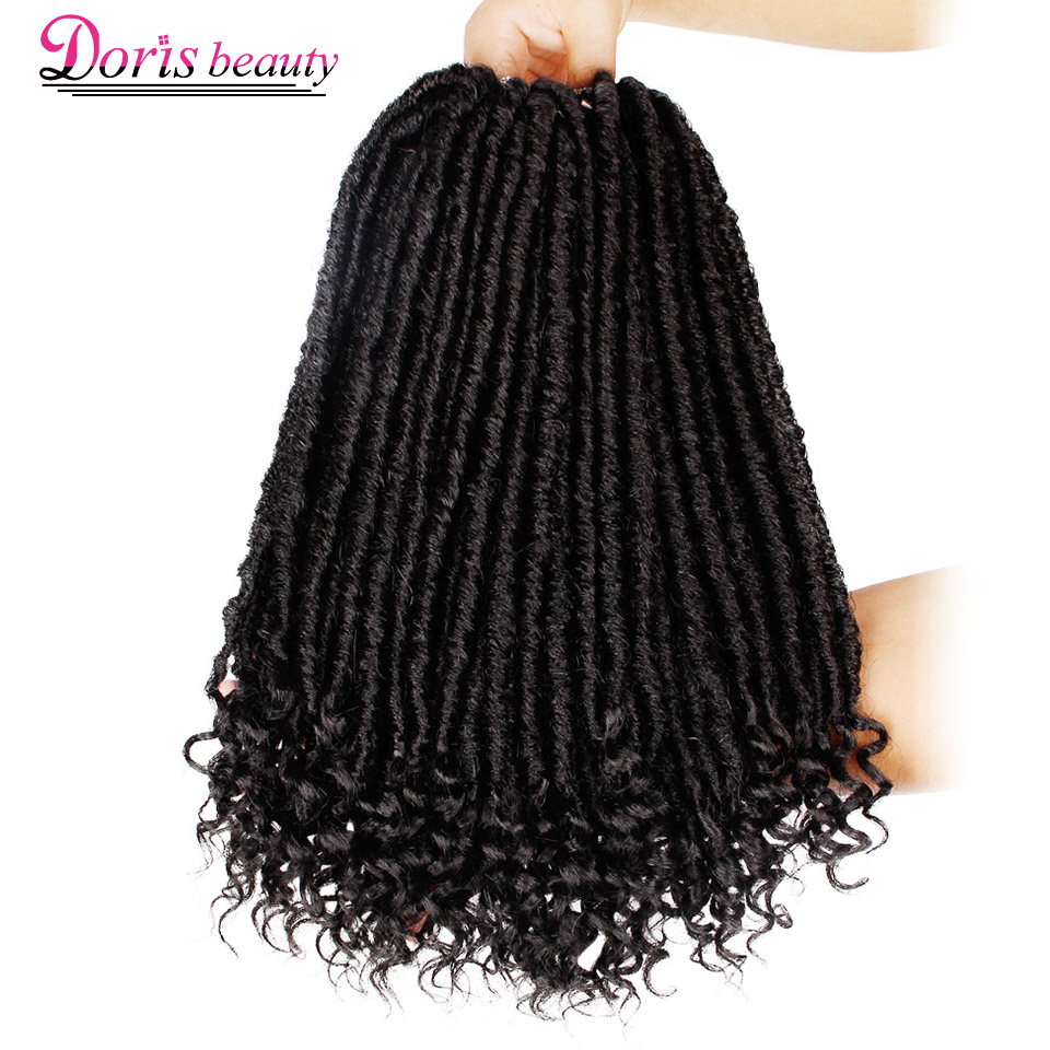 Crochet Braid Hair Curly Crochet Hair Goddess Faux Locs 16 Inch Synthetic Hair Extensions Ombre Braiding Hair Soft Natural