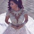 Árabe Lace Mangas Compridas Vestidos de Casamento 2017 Luxo Frisada de Cristal Catedral Trem Do Vestido de Casamento Vestidos de Noiva Vestidos De Noiva