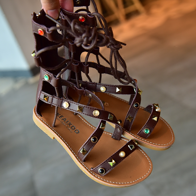 2017 new gril shoes long sandals mid calf riding gladiator shoe rivet stud children  kids footwears-in Sandals from Mother   Kids on Aliexpress.com  7f41acc83709