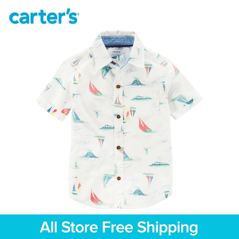 Carter's 1-Piece baby children kids clothing Boy Summer Sailboat Button-Front Shirt 225H363 button front frilled detail top