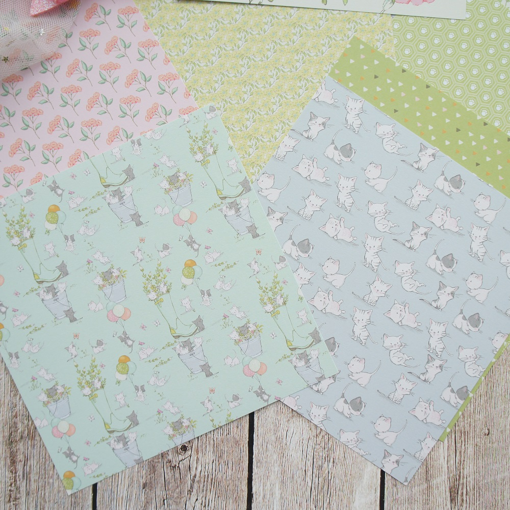 24 sheets DIY 12 style 15 2 15 2cm happy cat and green garden theme craft paper scrapbooking creative paper DIY gift use in Craft Paper from Home Garden