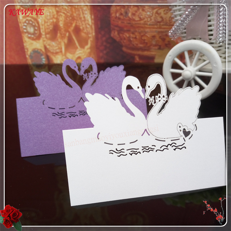 Us 6 69 42 Off 50pcs Hollow Out Pearlescent Paper Swan Table Cards Wedding Seat Card Invitation Letter Greeting Card Name Place Card 6zxx07 In Cards