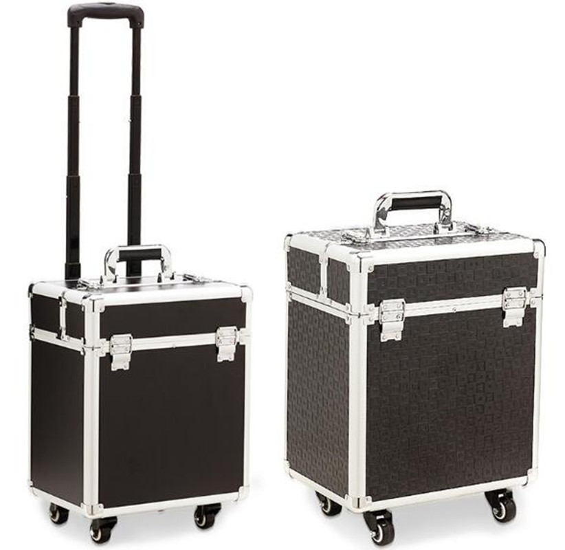 Aluminum frame 4 wheels Trolley Bag Makeup Box Beauty Case Travel professional makeup Suitcase makeup Universal Luggage XL016 kundui aluminum frame profelssional makeup beauty lighting rolling luggage travel trolley light make up case bag suitcase box