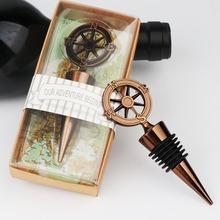 Ourwarm 1pc Compass Wine Bottle Stopper Wedding Favors And Gifts For Guests Souvenirs Party Supplies