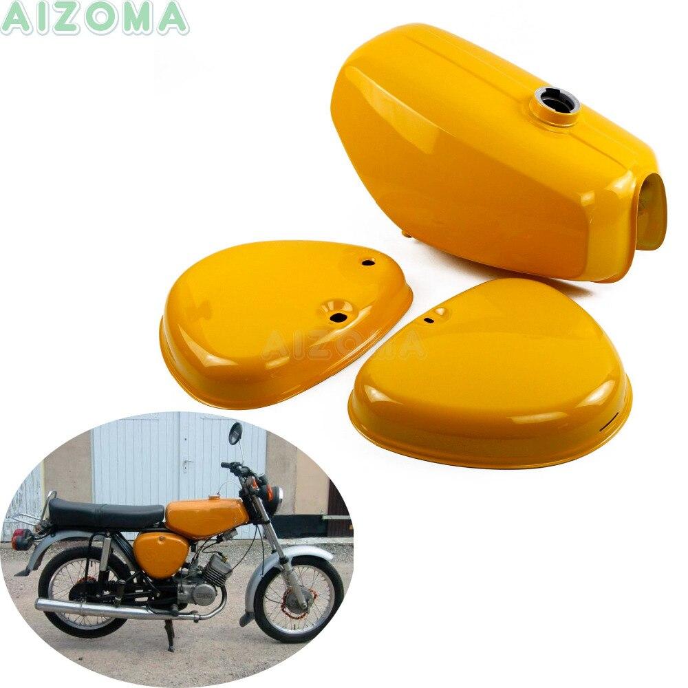1 Set jaune réservoir de gazole moto personnalisé w/2 pièces couvercle latéral en acier rétro Kit de réservoir de carburant pour Simson S50 S51 S70 (200655)