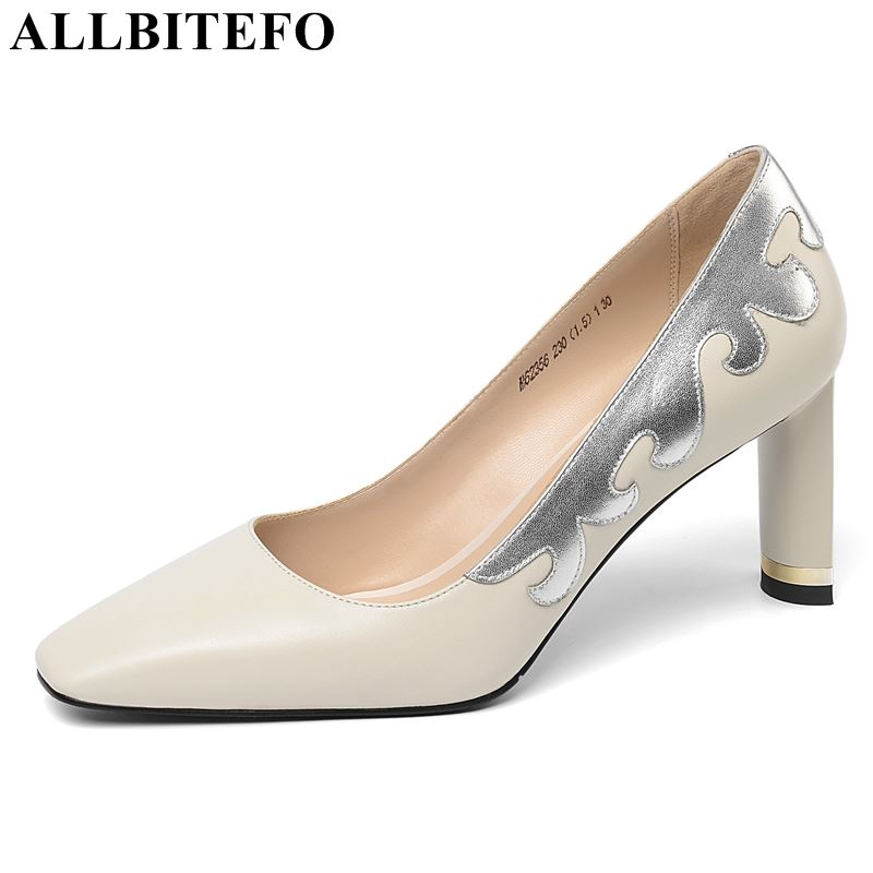 ALLBITEFO  Brand Genuine Leather High Heel Shoes Women Heels Pointed Toe High Quality Mixed Color Pretty Women Shoes Girls