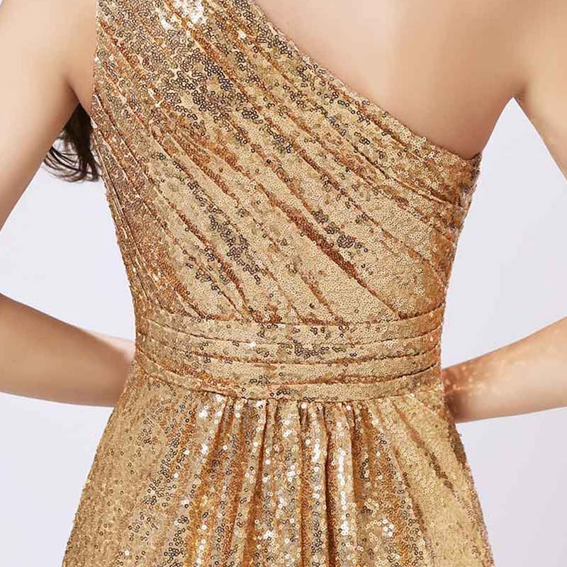 One Shoulder Gold Sequin Bridesmaid Dresses Cheap A Line Maid of Honor Dress Women Plus Size Long Pageant Party Gowns OS421 7