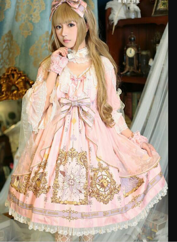 Robe lolita douce vintage impression dentelle bowknot mouche manches taille haute robe victorienne kawaii fille gothique lolita op cos loli