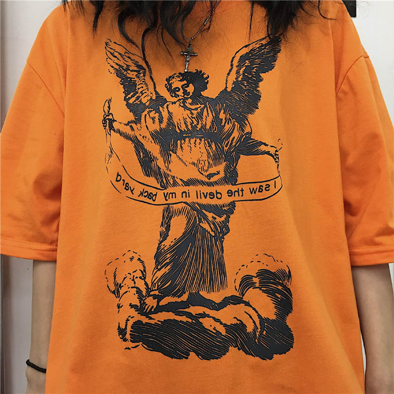 NiceMix new fashion black Streetwear Angel Letter Print Women T shirt Summer Short Sleeve Loose T Shirt Female Causal Tee Tops in T Shirts from Women 39 s Clothing