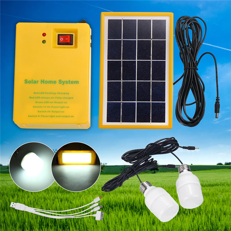 5V USB Charger Home System Solar Power Panel Generator Kit With 2 LED Bulbs Light Indoor/Outdoor Lighting Over Discharge Protect