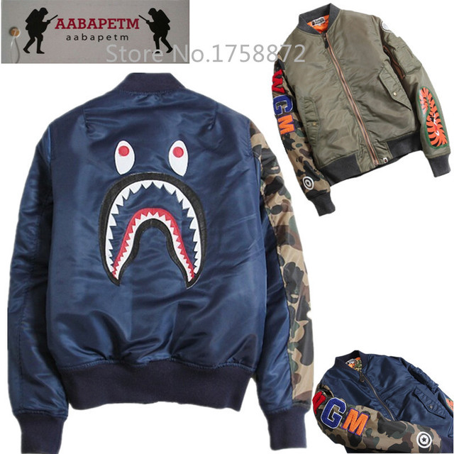 Brand young mens womens winter coats mens urban clothing military army  baseball camo Shark ma1 bomber jackets men s bape jackets 7e72af53b