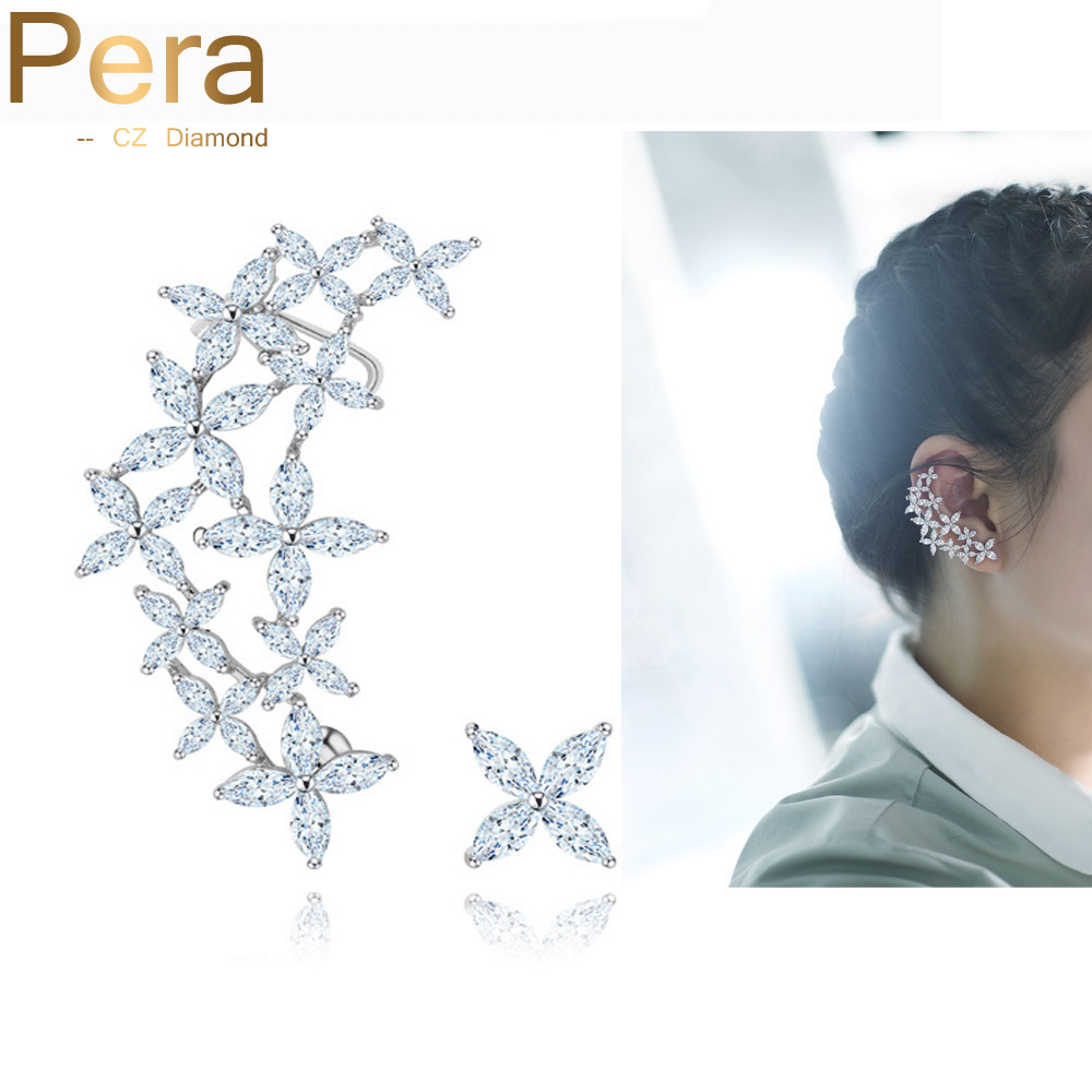 Pera Fashion Korean Style Sterling Silver Jewelry Hollow Out Big Flower Cubic Zirconia Ear Cuff Wrap Stud Earring For Women E054 punk style exaggerated square hollow out conjoined ring cuff bracelet for women