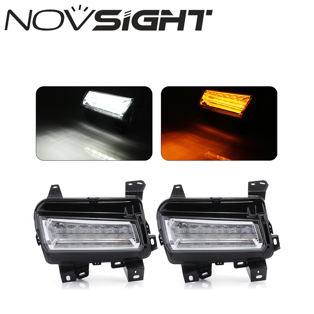 NOVSIGHT Car LED DRL Daytime Running Lamp Fog Lights Turn Signals For Cadillac XT5 2013-2016 high quality h3 led 20w led projector high power white car auto drl daytime running lights headlight fog lamp bulb dc12v