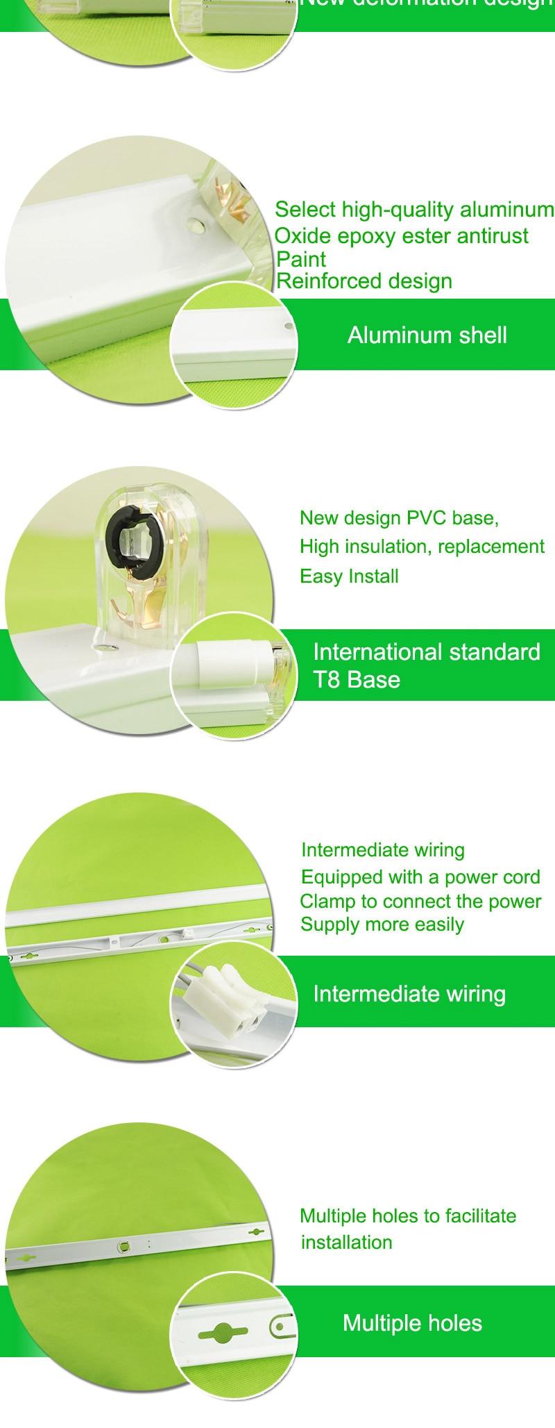 Buy Led Tube T8 Fixtures Bracket 10w 60cm 2feet Wiring Light In Series Multiple Fluorescent For 2ft 06m 600mm Lamp Support Stent Connection Base Holder Socket