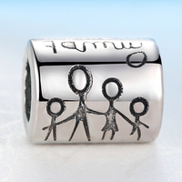 2019 New Silver Beads Charm with Happy Family Diy Bead Charms Fit Pandora Bracelets Women Bracelets & Bangles Jewelry Gift
