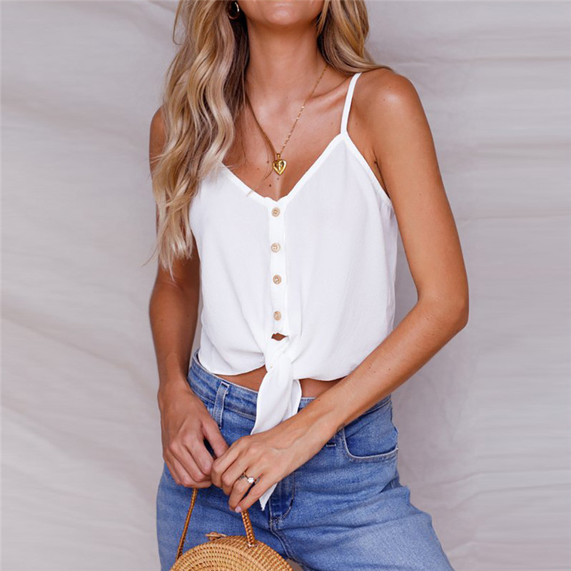 Fashion Women Button Sleeveless Crop Top Vest Tank Shirt Blouse Tops 2018 cropped tank t ...