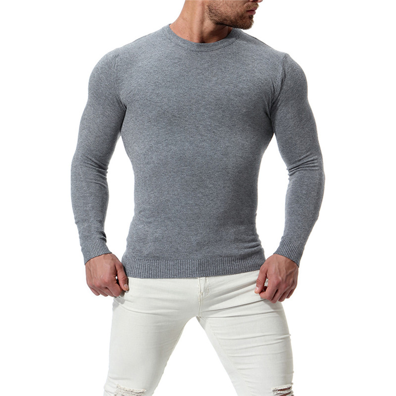 2018 Autumn New Men's Round Neck Sweater Men's Solid Color Slim Long Sleeve Bottoming Shirt Color Gray / Black / Wine Red