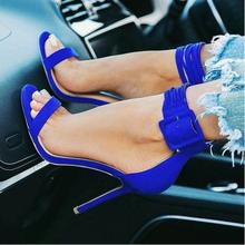 Royal Blue Suede Buckle Strap Women Sandals Open Toe Stiletto Heel Ankle Gladiator Plus Size 10 Customized