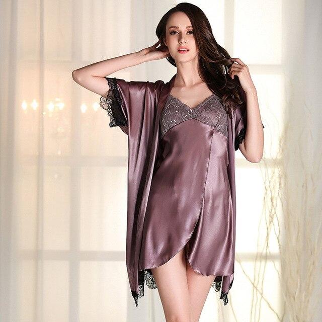 cbb72b2372 Mujer verano para las mujeres sólido Bañeras bata seda robe ropa de dormir  pijama camisón manga
