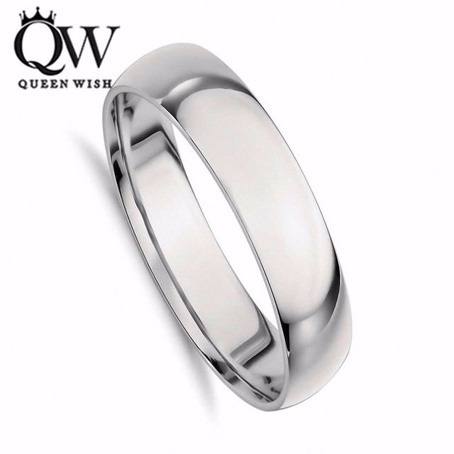 Queenwish 5mm Domed White Tungsten Carbide Wedding Band Engagement Ring Comfort Fit US Size 5