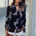 Elegante de la Impresión Floral Negro Mujeres Blusa de Gasa Estilo Europeo V Cuello de Manga Larga Casual de Las Señoras Camisas Blusas Femininas YS014