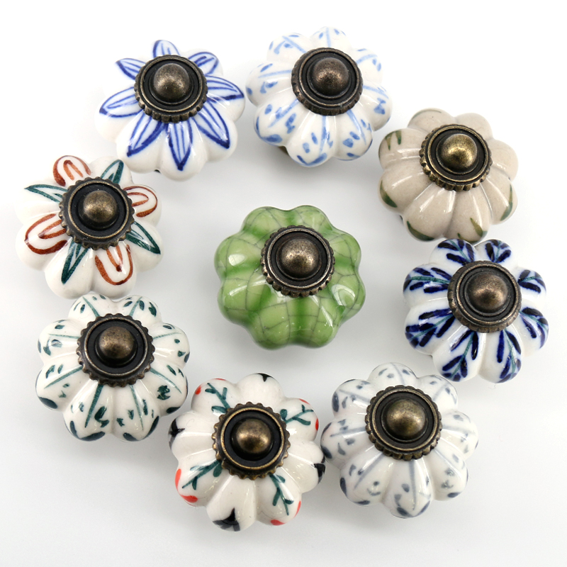 1x Hand Painted Ceramic Door Handles Antique Furniture Drawer Pulls Crack Kitchen Cabinet Knobs And Handles 33mmx38mm
