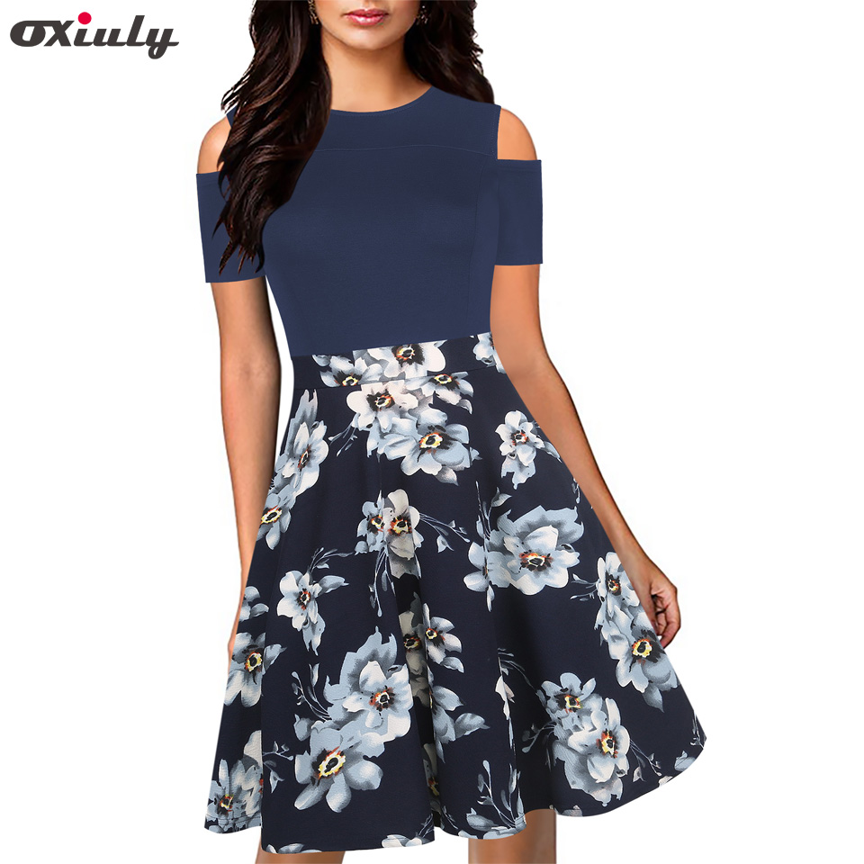 Oxiuly Summer Floral Print Women Patchwork DressHollow Out Spaghetti Strap Female Tunic Girl Casual Beach Dresses