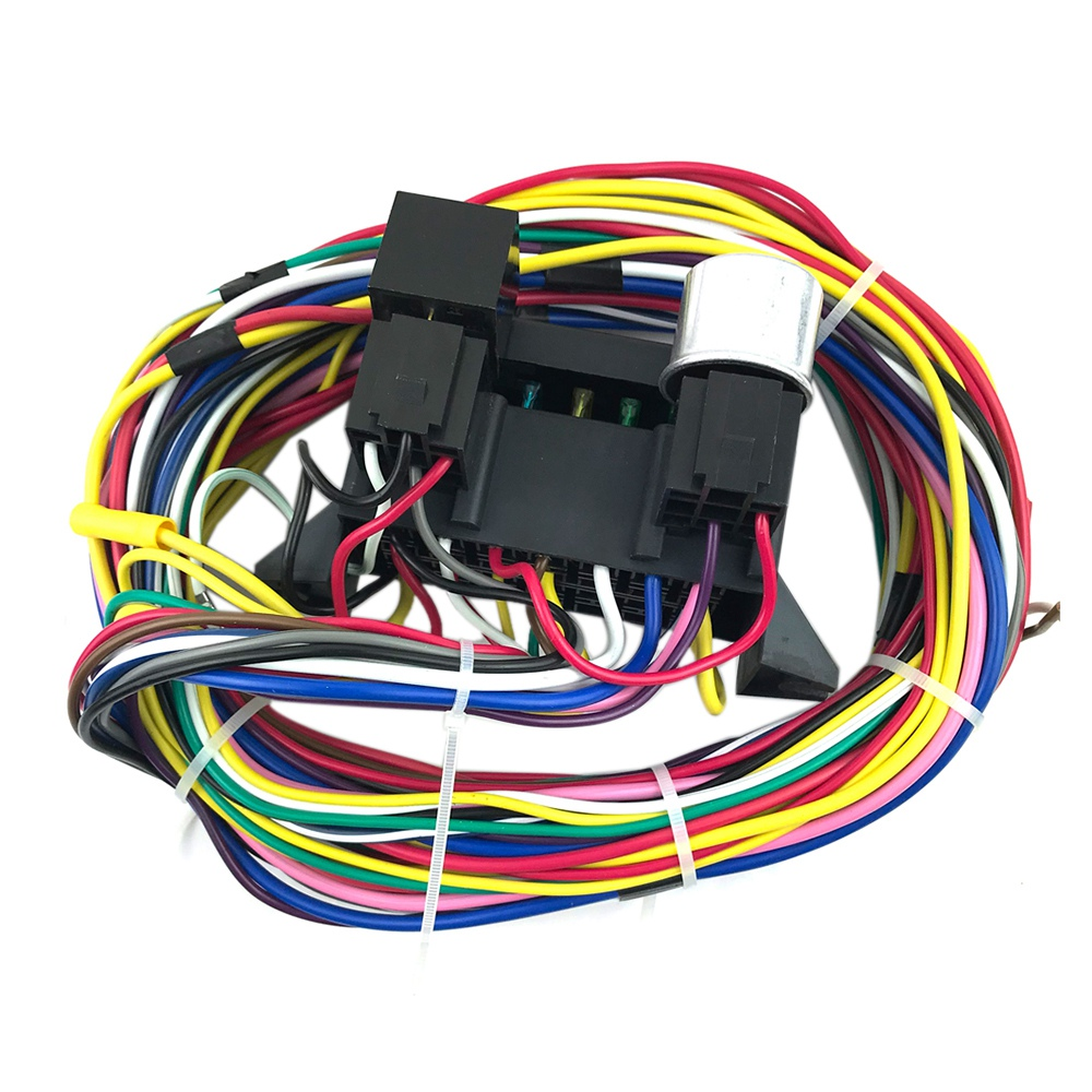 DHBH 12 Circuit Universal Wiring Harness Muscle Car Hot Rod ... Universal Hot Rod Wiring Harness on universal wiring harness kit, universal hot water heaters for cars, universal painless wiring harness, universal wiring harness diagram, universal hot rod motor mounts, universal gm wiring harness, universal hot rod mirrors,