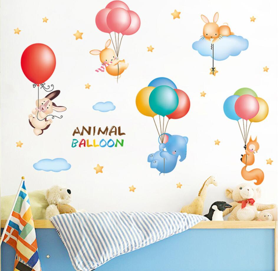 Animal de bande dessinée Ballon Nuage de Wall Sticker Enfants Chambre Bébé Enfants Chambres Home Decor Sticker adesivos de parede