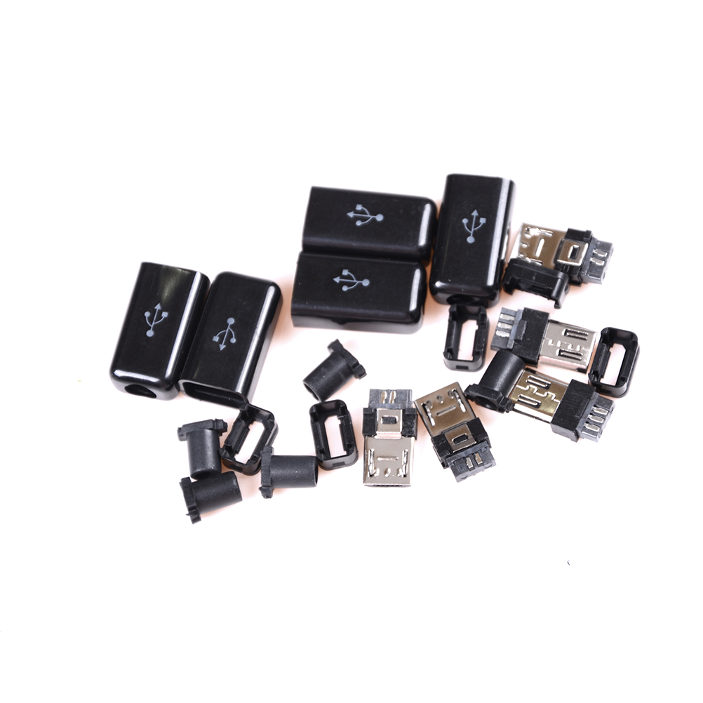 5pcs DIY Black Micro USB <font><b>5</b></font> <font><b>Pin</b></font> Male <font><b>Plug</b></font> <font><b>Socket</b></font> Connector&Plastic Cover Solder Micro Mount Assembly Replacement Connector Cable image