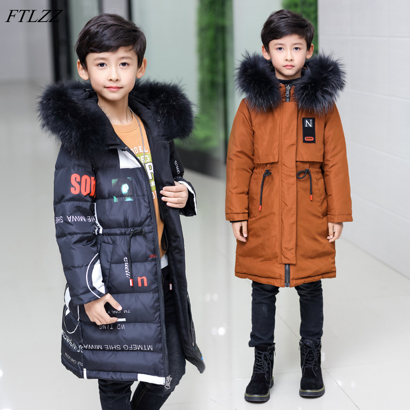 FTLZZ Winter Kids Two Side Wear Duck Jacket 2018 Children Girl Boy Hooded Raccoon Fur Parkas Teenage Thicken Snow Outerwear Coat цены