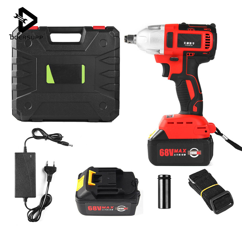 Cordless Impact Socket Wrench Kit 68V 7800mAh Brushless Electric Wrench Rechargeable + 2 Lithium Battery 330Nm Torque 1/2 Inch tenwa20v brushless electric impact wrench cordless rechargeable lithium battery socket impact digital electric wrench