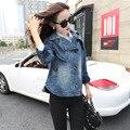 2016 новое поступление женская джинсовая куртка мода дамская свободного покроя широкий плащ джинсы женский верхней одежды DX858