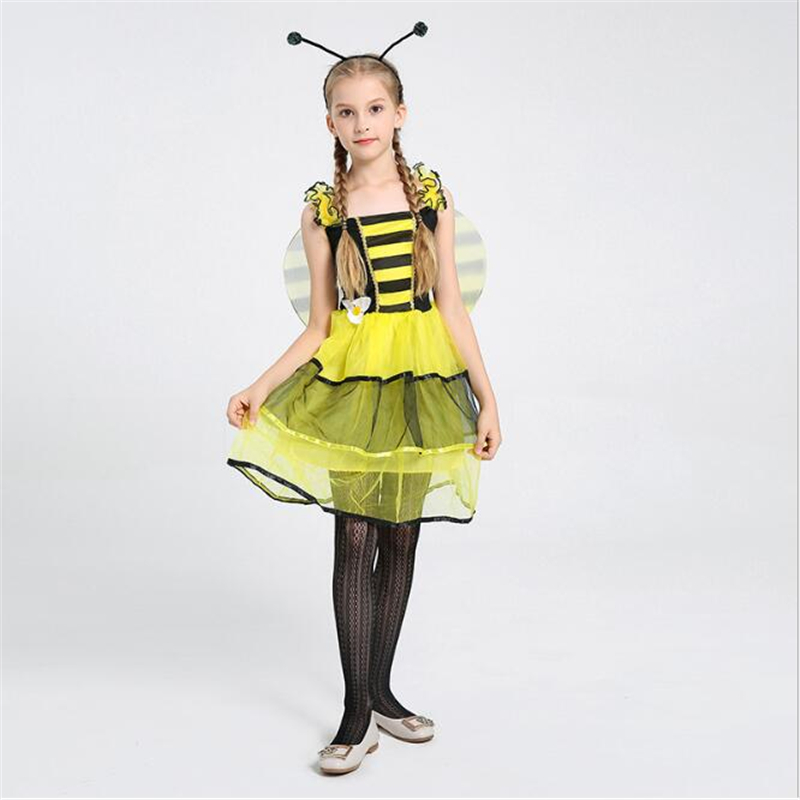 Cute Girls Bee Fairy Costume Halloween Fancy Children Kids Cosplay Clothing