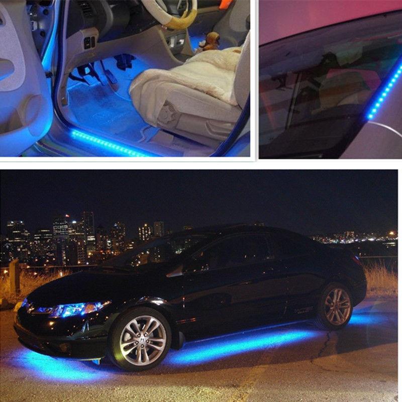 Us 2 33 6 Off 4pcs 12v 15 Led Car Truck Motor Grill Flexible Waterproof Light Strips Home Automotive Led Light Source Decor Light Blue In Interior