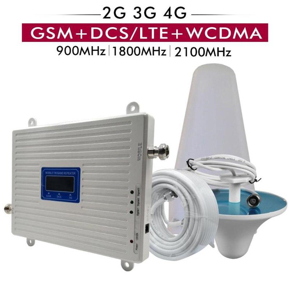 70dB Gain 4G amplificateur Tri bande GSM 900DCS/LTE 1800 UMTS/WCDMA 2100 répéteur de Signal de téléphone portable ensemble d'antenne amplificateur cellulaire
