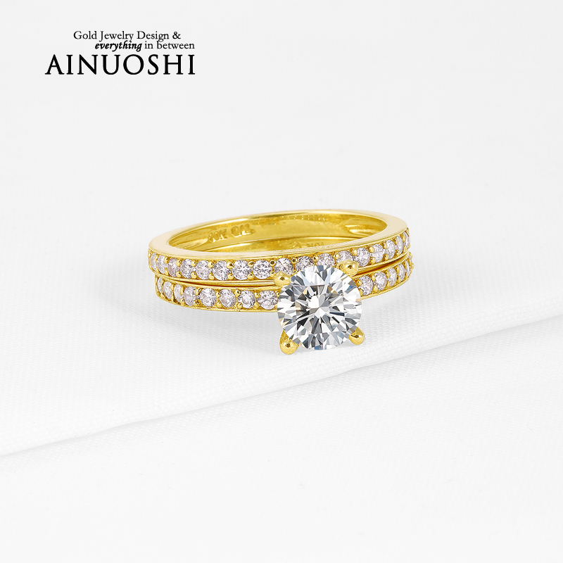 1 ct Classic 4 Prongs Wedding Band Round Cut Sona Simulated Diamond Ring Sets 10K Solid Yellow Gold Bague for Women Engagement