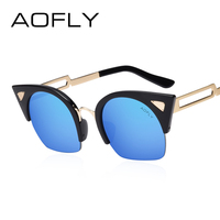 AOFLY Ladies Sunglasses Cat Eye Sun Glasses Classic Brand Designer Metal Frame Sunglasses Female Cutting Lens