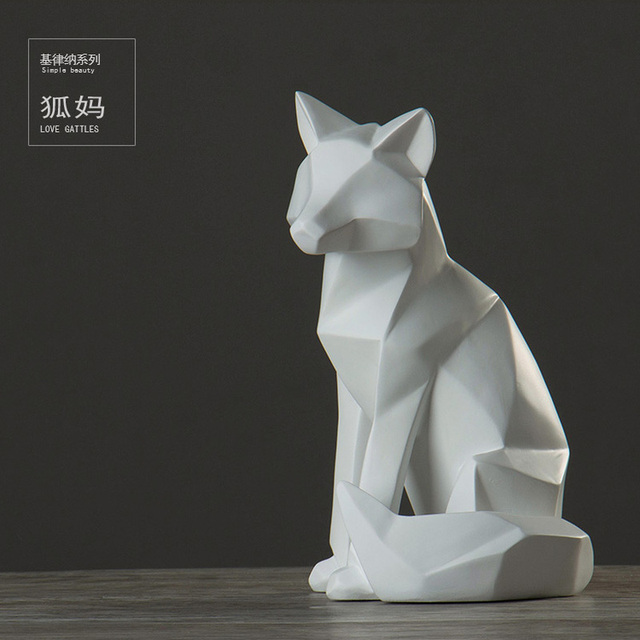 simple white abstract geometric fox sculpture ornaments Creative modern Nordic geometric decoration home living room AP503915 3