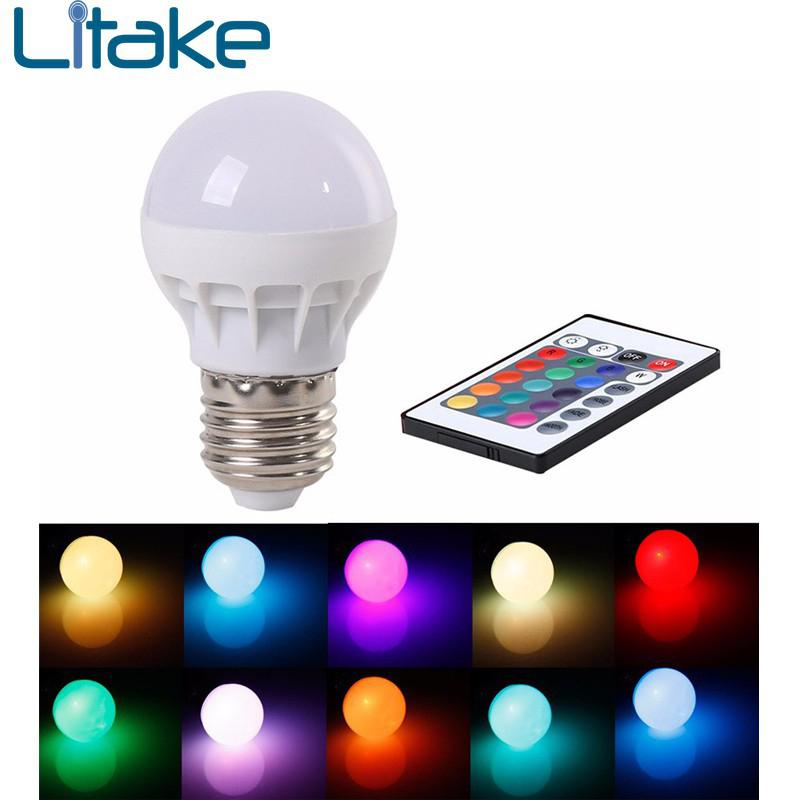 Litake RGB LED Light Bulb - Color Changing with Remote Control,3W-E27-B50 ...